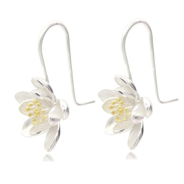 Women's 925 Sterling Silver Lotus Earrings 1