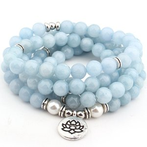 Women's Pastel Blue Natural Stone Lotus Bracelet 7