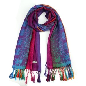 Women's Elephant Print Multicolor Style Scarf 17