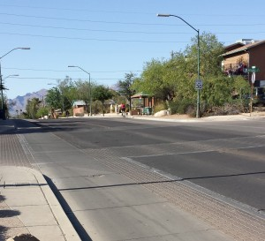 Mountain Ave bike boulevard by the University of Arizona campus