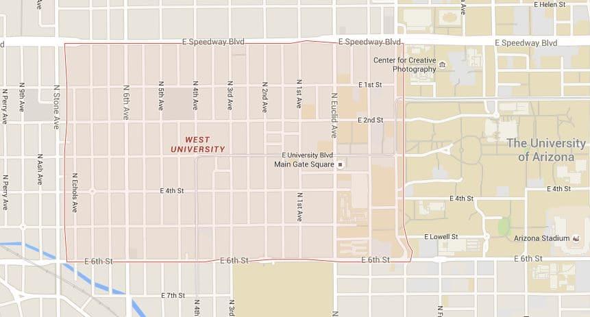 West University Map Tucson