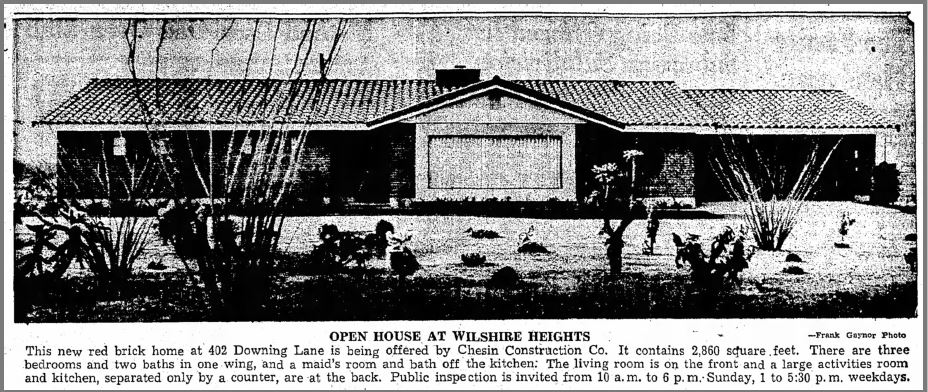 Wilshire Heights 1954 open house ad