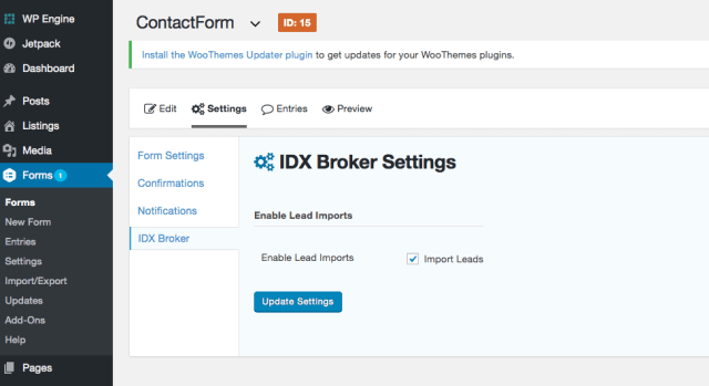 • IDX Broker WordPress gravity forms