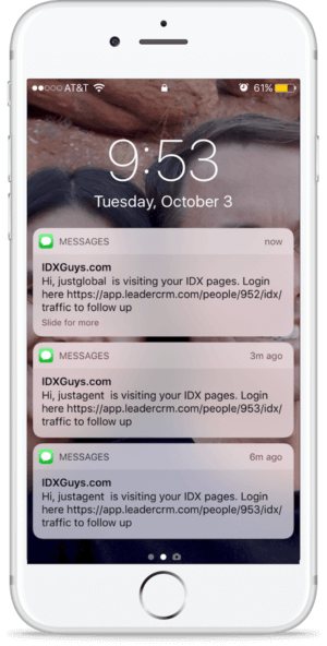 Text alerts front iPhone for IDX