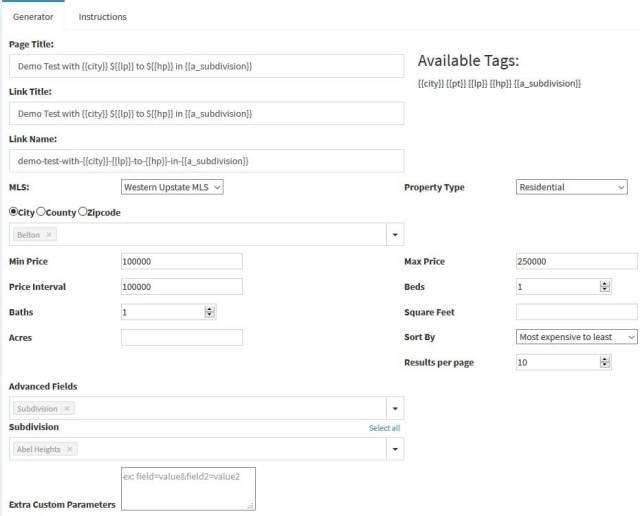 Screenshot of Saved search generator for IDX Broker