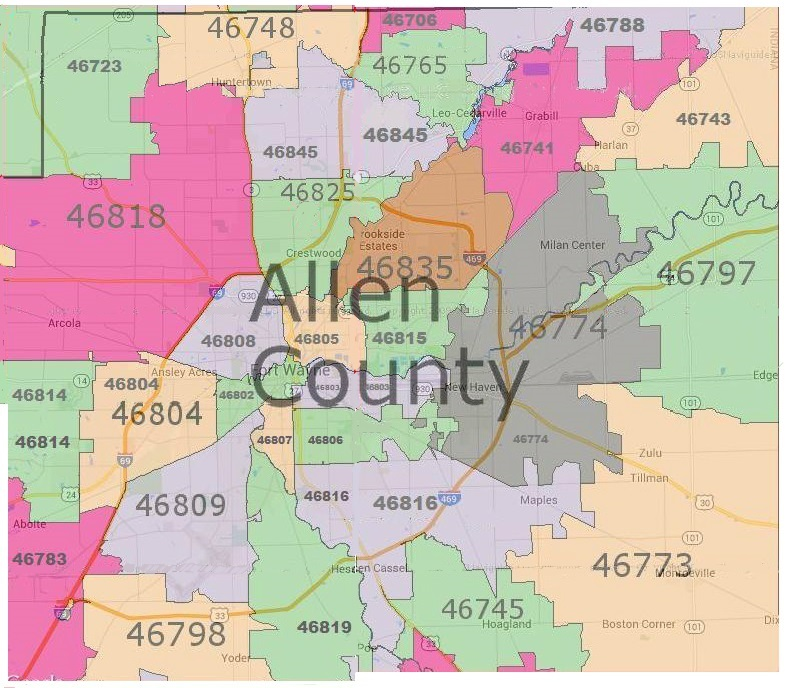 Allen County Real Estate by Zip Code Map | Fort Wayne Real Estate