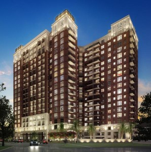 The Carter, a 20-story residential rental tower, is under construction in Houston's Montrose area.