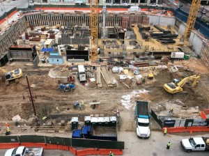 Photo of construction site for Hines 1 million sf spec in downtown Houston. Photo By Ralph Bivins, RealtyNewsReport