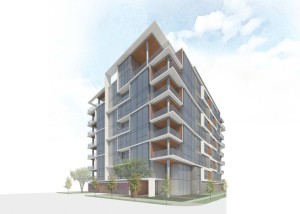 Rendering of The Mondrian, a proposed residential building in Houston's Museum District.