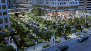 Rendering of the new green space that will be created as part of the redevelopment of Allen Center.