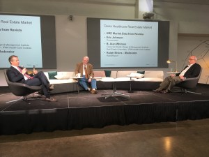 Eric Johnson of Transwestern, Alan Whitson, president of Corporate Realty Design and Management Institute and Ralph Bivins, Realty News Report,  discuss real estate at the Texas Healthcare Real Estate conference.