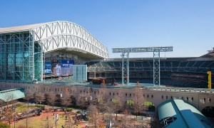 View of the Astros' Minute Maid Park from the sports deck at the 500 Crawford apartments.