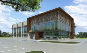 Rendering of Egrets Landing office building under construction near Houston.