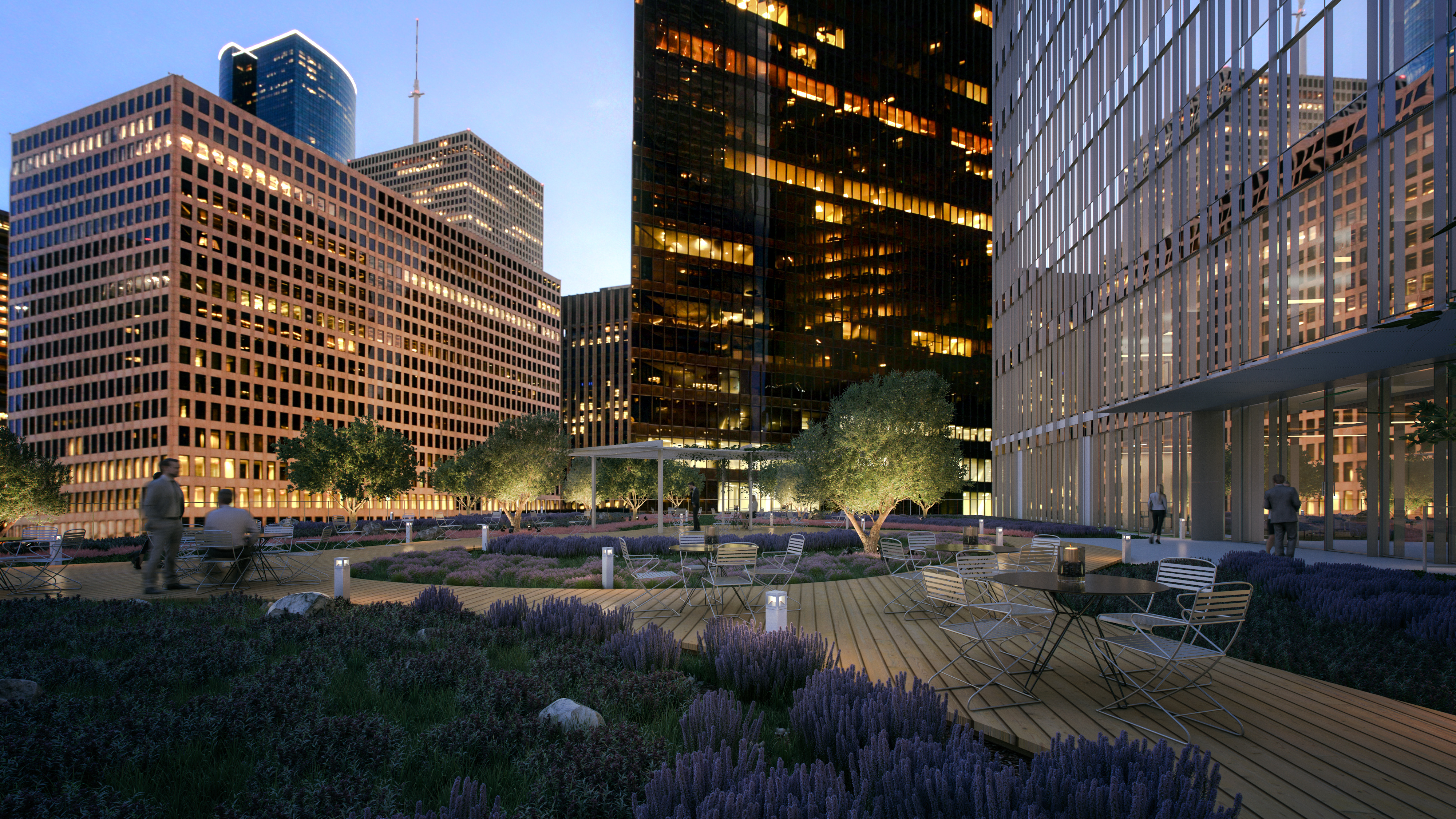 Rendering Of Rooftop Park That Will Be Part Of The New Skanska Officer  Tower Under Construction In Downtown Houston. OJB Landscape Architecture  Designed The ...