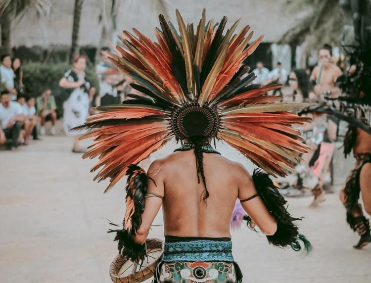 aztec dancer in riviera maya, playa del carmen, tulum