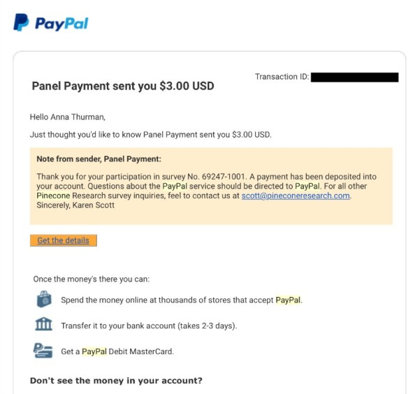 Pinecone payment proof