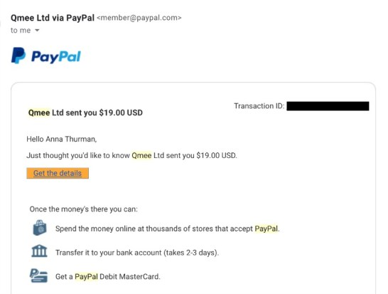 qmee payment proof
