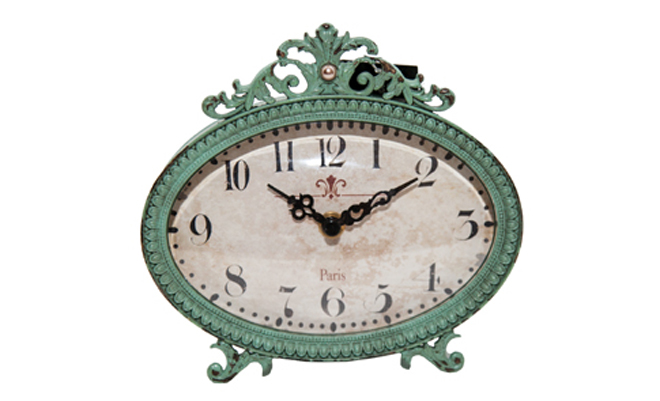creativecoop Aqua and Pewter Table Clock