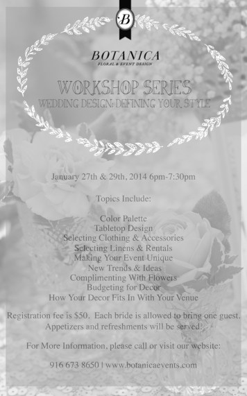January Wedding Workshop