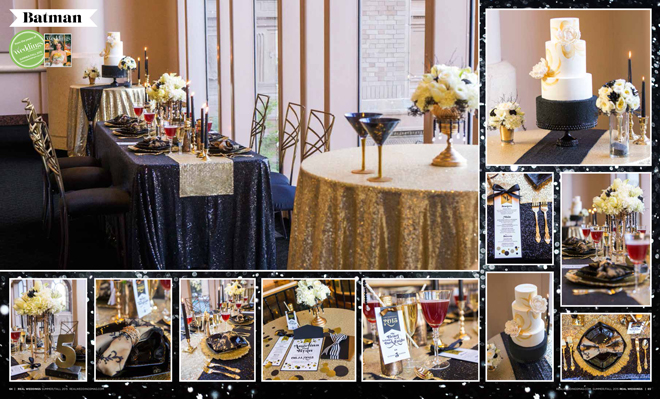 """As seen in the """"Batman"""" styled shoot in the Summer/Fall 2015 issue Real Weddings Magazine, www.realweddingsmag.com"""