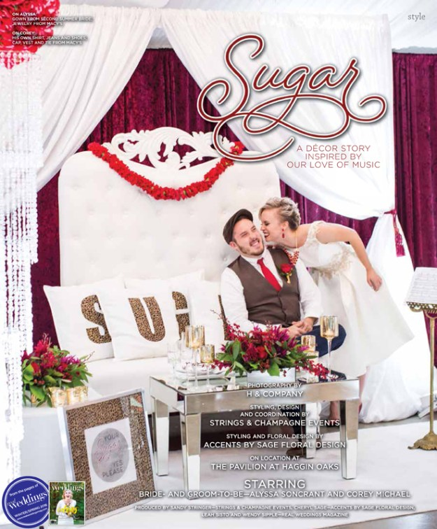 Sacramento Wedding Inspiration: Sugar-A Decor Story Inspired by our Love of Music {The Layout from Real Weddings Magazine's Winter/Spring 2016 Issue}