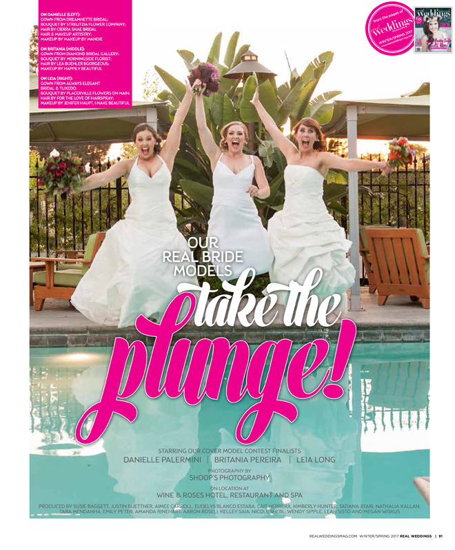 Sacramento Wedding Inspiration: Take The Plunge {The Layout} from the Winter/Spring 2017 issue of Real Weddings Magazine