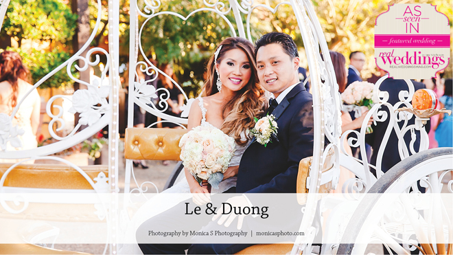 Le & Duong   Featured Real Wedding   Monica S Photography   Temple Photography   Behind the Scenes Sound   Vintage Carriage Company