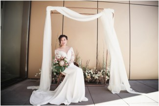 Gown by Vasylkov Bridal Couture from Diamond Bridal Gallery; Earrings from Macy's; Bouquet by Hillside Blooms Floristry; Hair by Halo Salon & Day Spa; Makeup by Happily Beautiful Makeup Artistry & Skin Studio; Photography by 2 Girls 20 Cameras on location at Kimpton Sawyer Hotel.