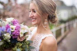 Gown from Always Elegant Bridal & Tuxedo; Headpiece and earrings by Luxurious Bridal; Shoes from DSW; Bouquet by Morningside Florist; Hair by Lisa Harter Hair and Makeup Artist; Makeup by Happily Beautiful Makeup Artistry & Skin Studio. Photography by Farrell Photography on location at Hotel Sutter.