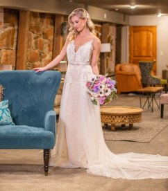 Gown by Solo Merav from Diamond Bridal Gallery; Headpiece and earrings from Macy's; Bouquet by Morningside Florist; Hair by Lisa Harter Hair and Makeup Artist; Makeup by Happily Beautiful Makeup Artistry & Skin Studio. Photography by Farrell Photography on location at Hotel Sutter.
