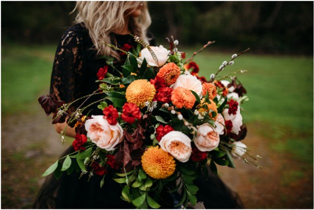 Fall Color Bridal Bouquet-Moody Styled Shoot Elopement-Sacramento Tahoe Wedding Photography