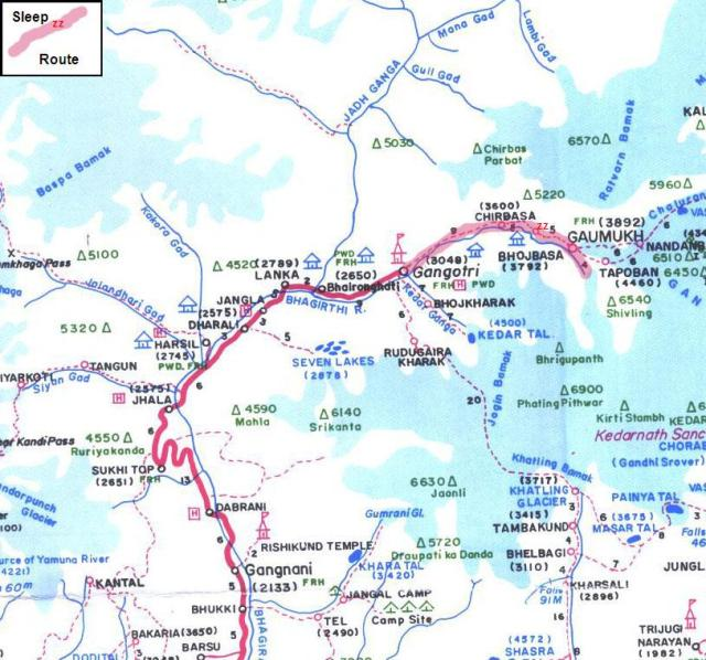 gaumukh area map