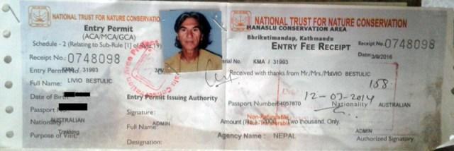 Manaslu Entry Permit1