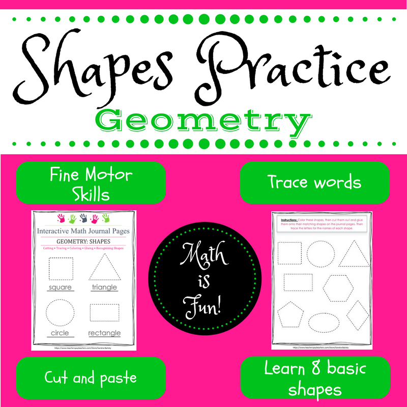 Math Monday: Free interactive journal page download for Shapes Practice (Pre-K - 1st grade)