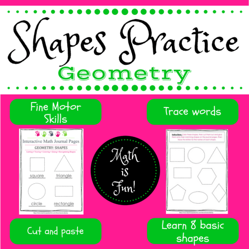 Geometry Shapes Practice | Interactive Notebook Pages for Pre-K - Kindergarten