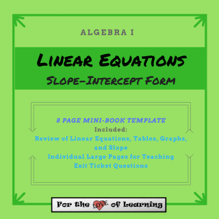 an 8 page mini book template to use with interactive journals -- slope intercept form of linear equations