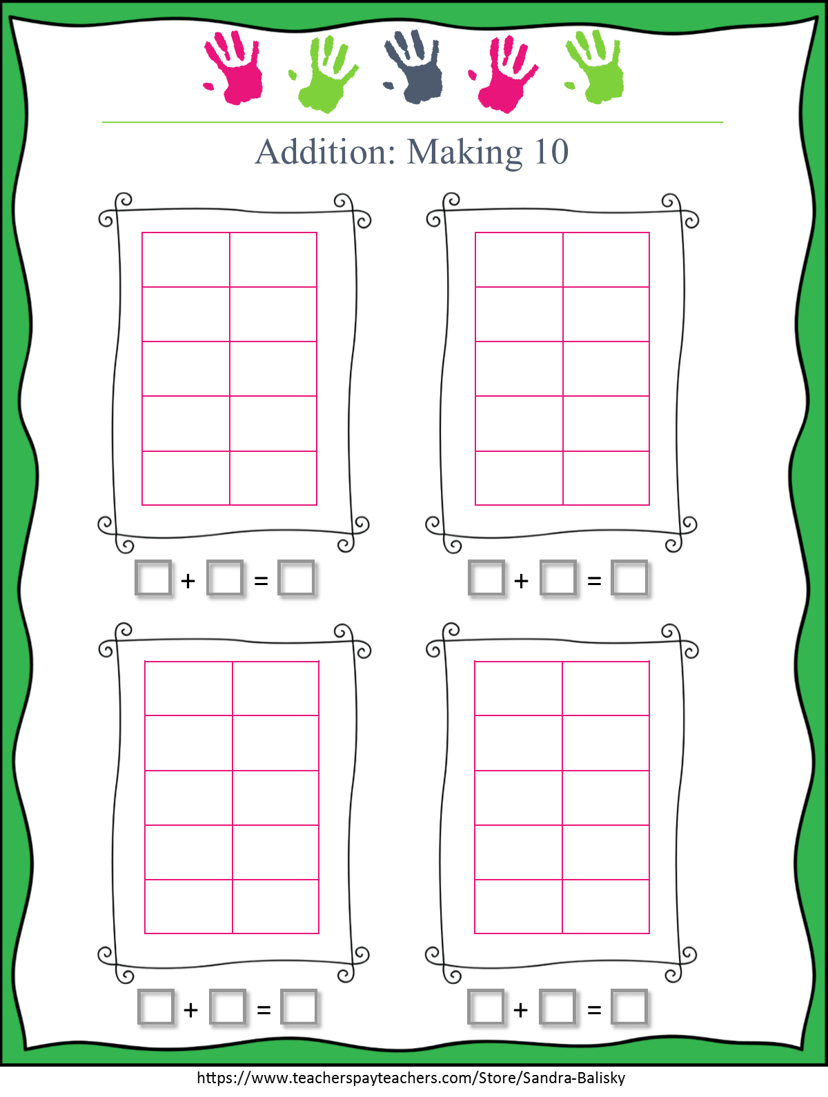 image relating to Making 10 Games Printable named Math Monday: 10 body math with seass ⋆ R.E.A.L.-World-wide