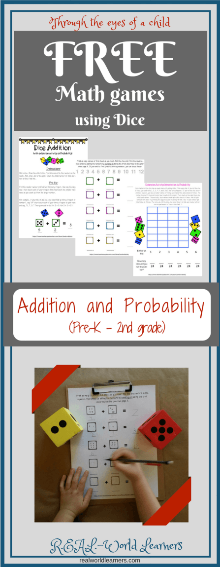 Preschool math with dice -- free printable math games for addition and probability