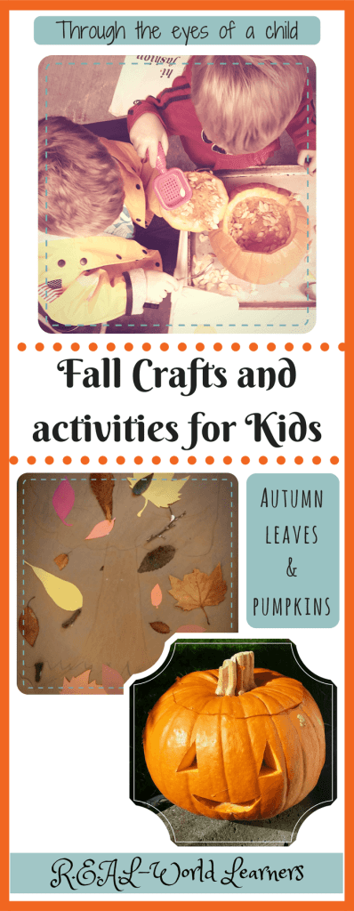 Fall crafts and activities for kids | pumpkin patches, pumpkin seeds, pumpkin carving, nature walks to find fall leaves, making a multi-media art collage