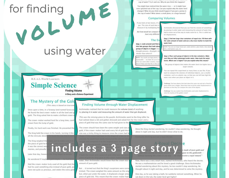 FREE PRINTABLE science experiment for finding volume using water -- differentiated for use with preschool through high school | great for science centers or math centers or multi-age homeschool groups