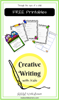 Storytelling prompts and templates with examples; includes 4 free printable story forms to help encourage young children develop creative thinking skills