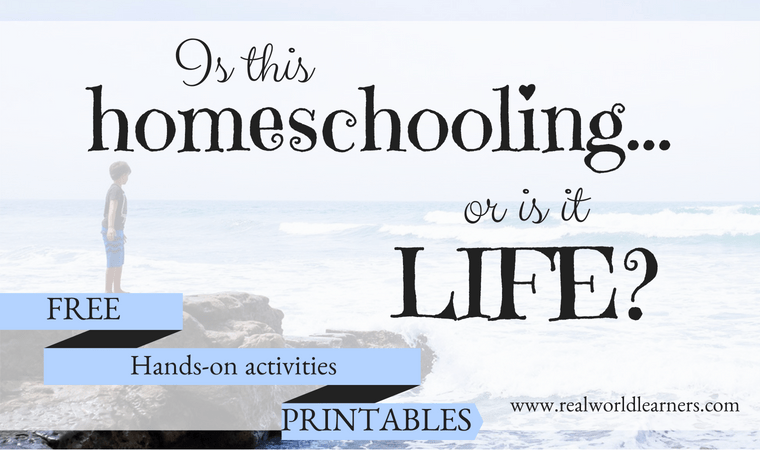 Lifeschooling: Is this homeschooling or is this life? Our take on what it means to live life fully and love learning. Free library of hands-on learning activity printables included! #freeprintables #lifeschooling #homeschool #learning #realworldlearners