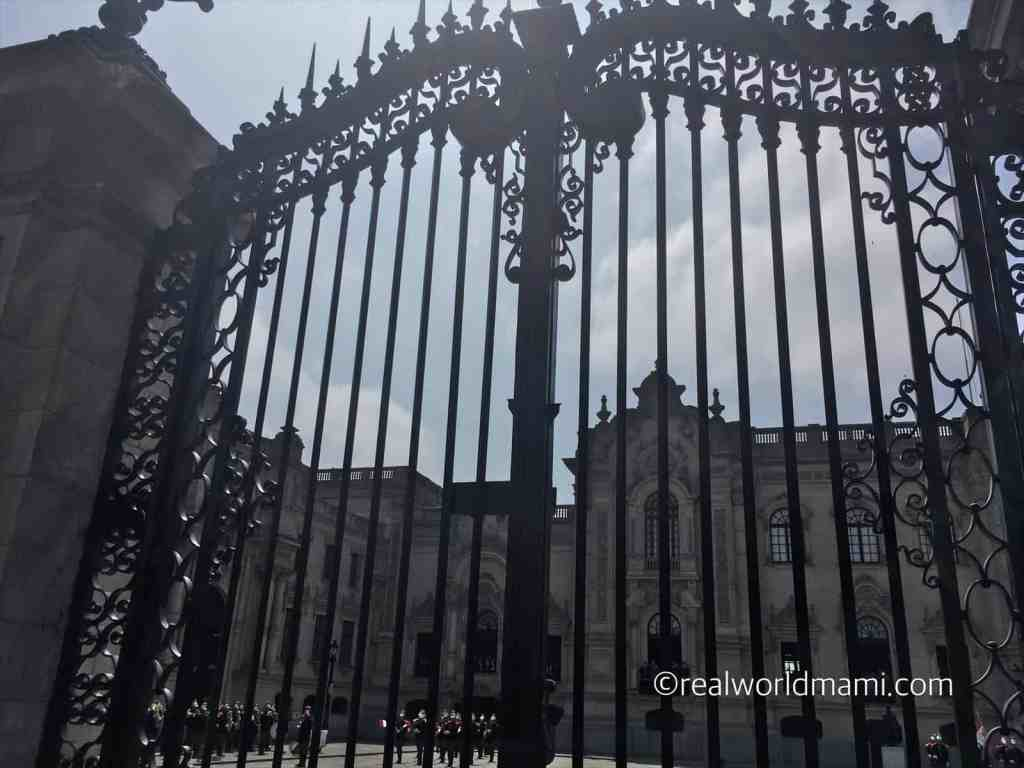 Lima Peru with kids beautiful view of Government Palace door