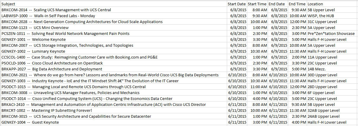Official RWUCS CiscoLive2015 Schedule