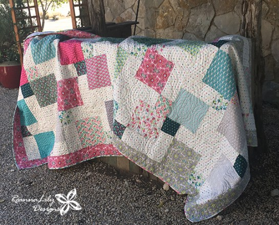 Flit and Bloom- Disappearing 9-Patch with Layer Cakes Baby Quilts by Jen Eskridge - ReannaLily Designs