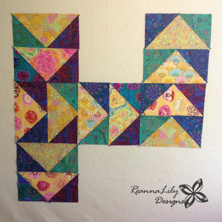 Giant Flying Geese Using Layer Cakes | Quilting Pattern | Jen Eskridge | ReannaLily Designs | ReannaLily Quilts | Kaffe Fassett