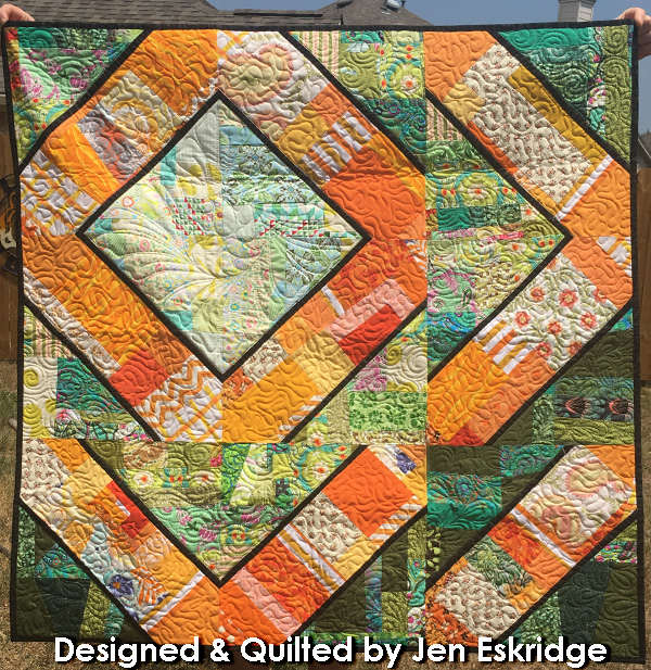 Green and Orange Scrap Quilt Wall Hanging