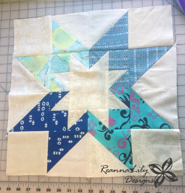 Rising Star Quilt Block Made With Fabric Scraps