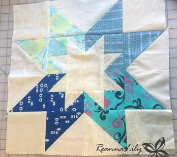 Rising Star Quilt Block in Fabric Scraps