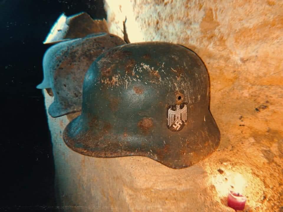 German helmet from WW2 sights
